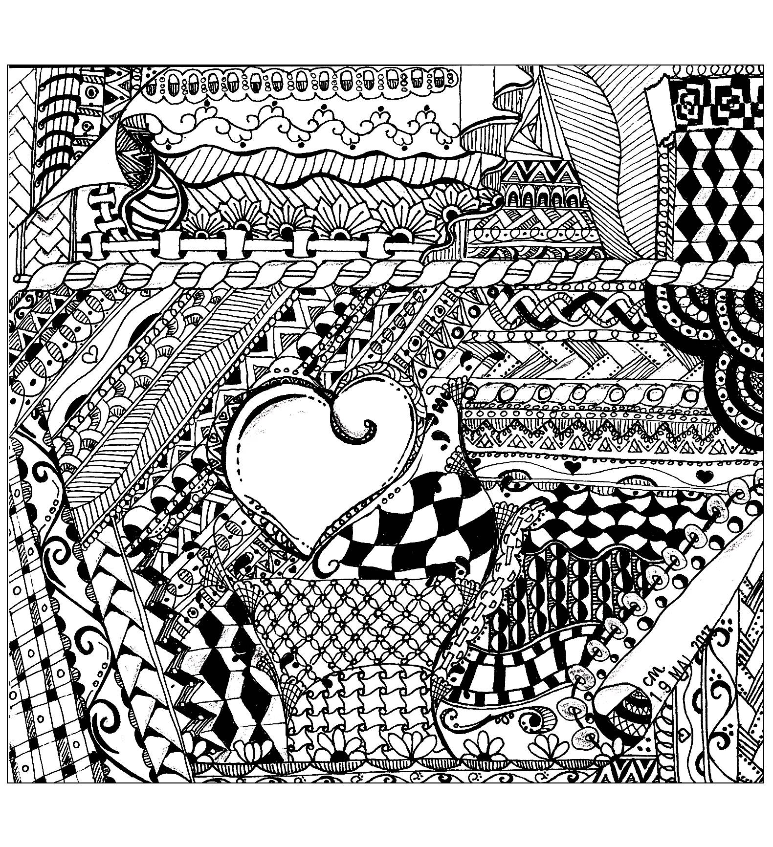 'Let go', exclusive zentangle coloring page See the original work