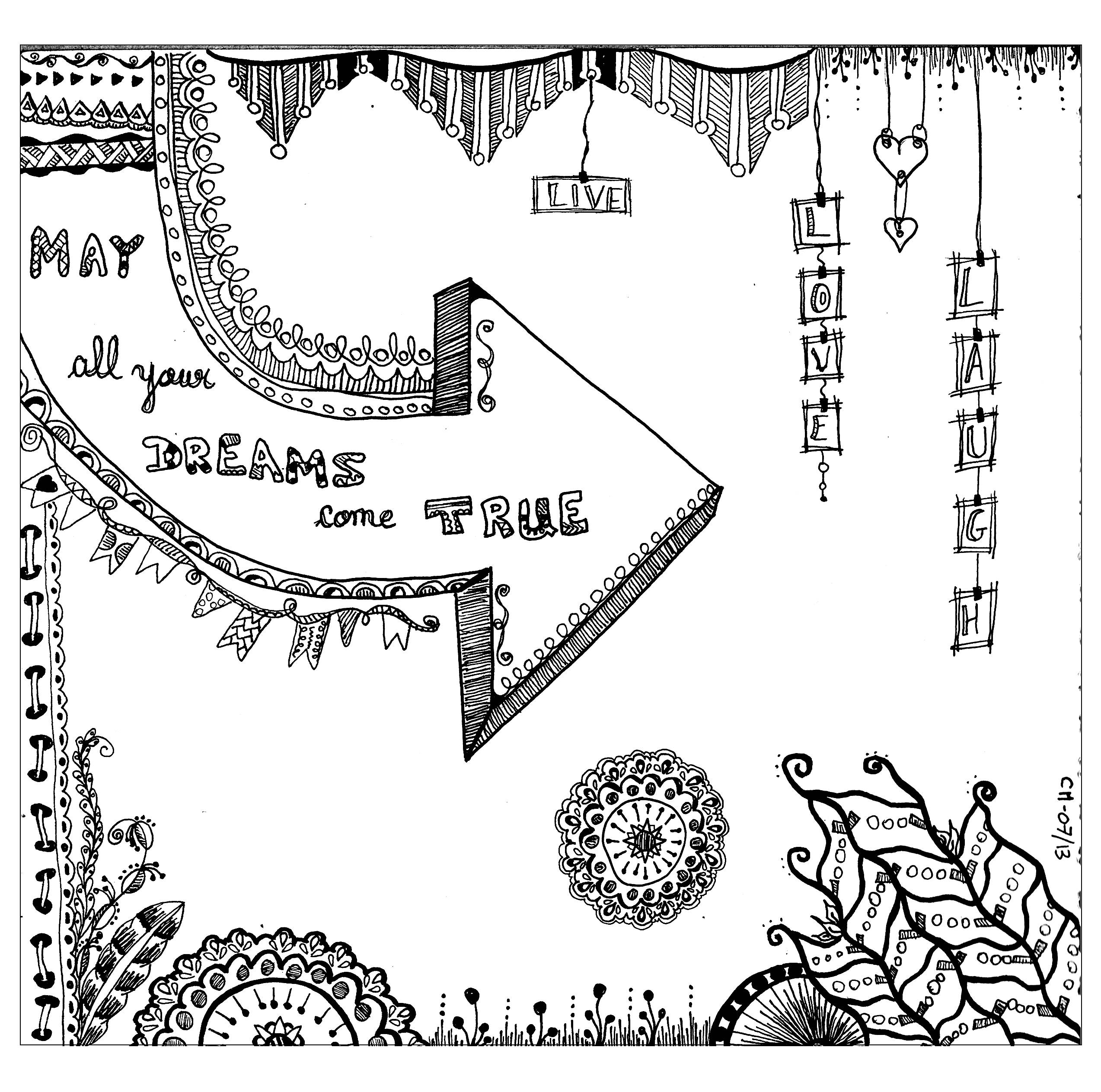 'May all your dreams come true', exclusive zentangle coloring page See the original work