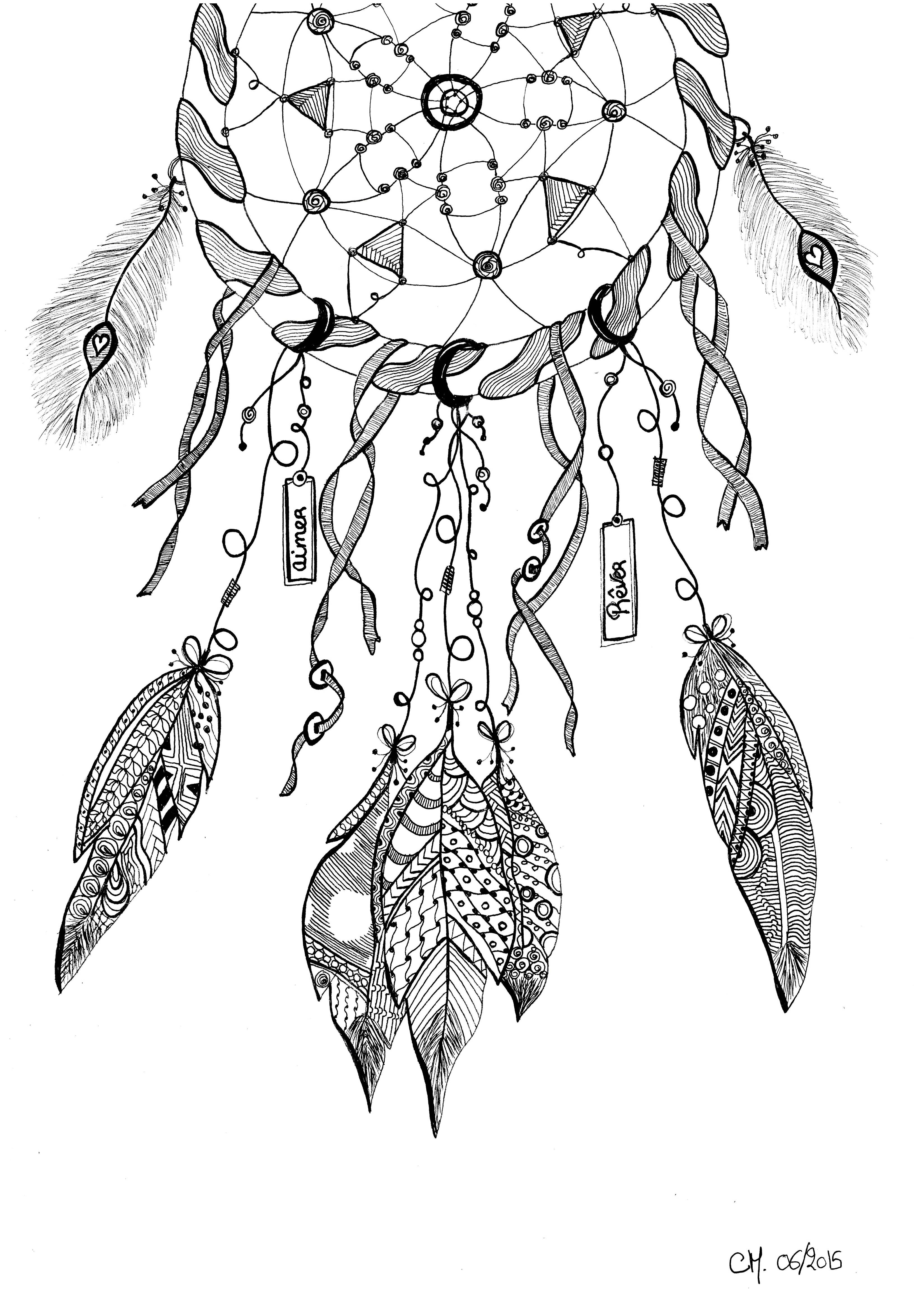 Dreamcatcher Exclusive Zentangle Coloring Page See The Original Work