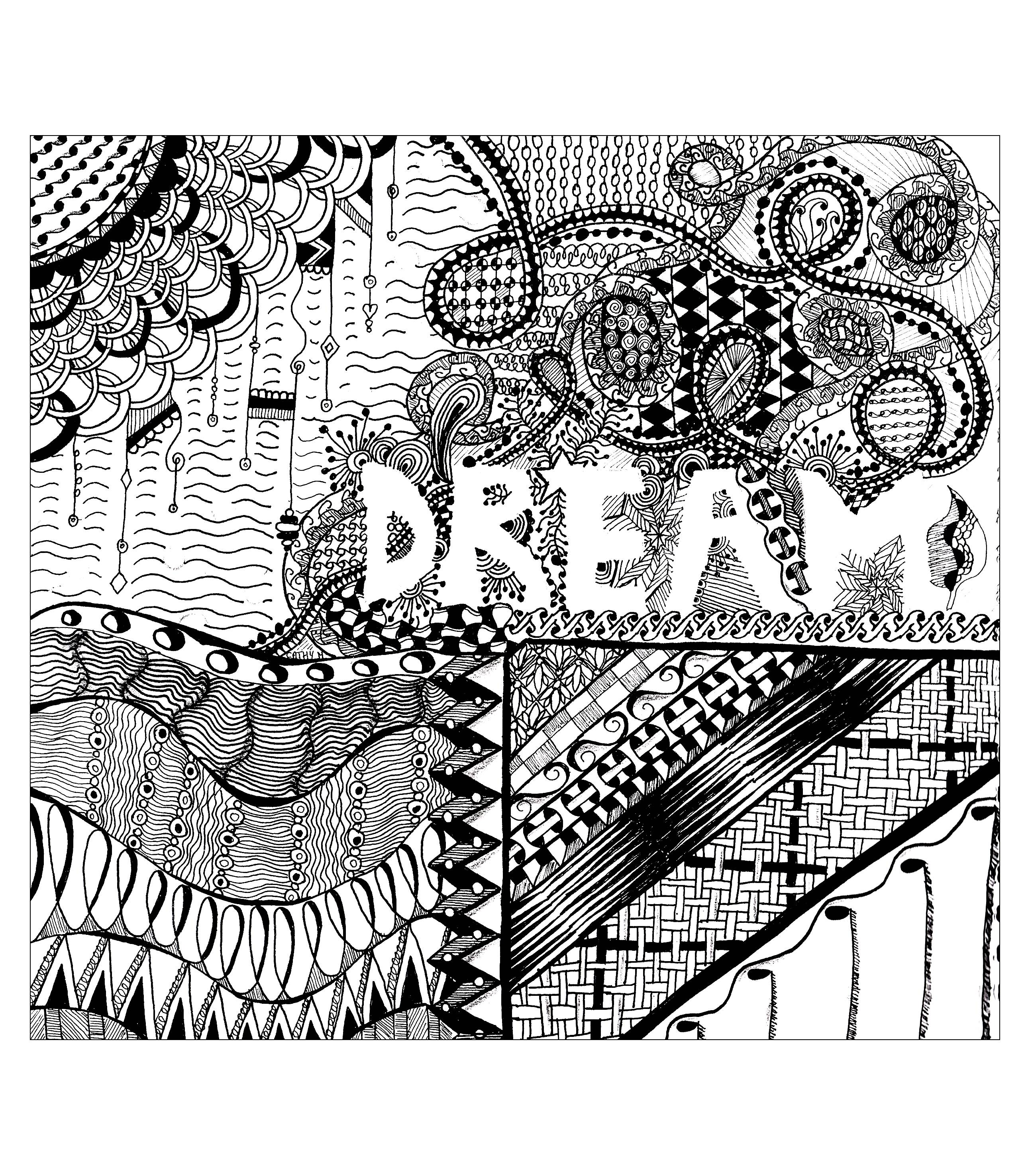 'Dream', exclusive zentangle coloring page See the original work