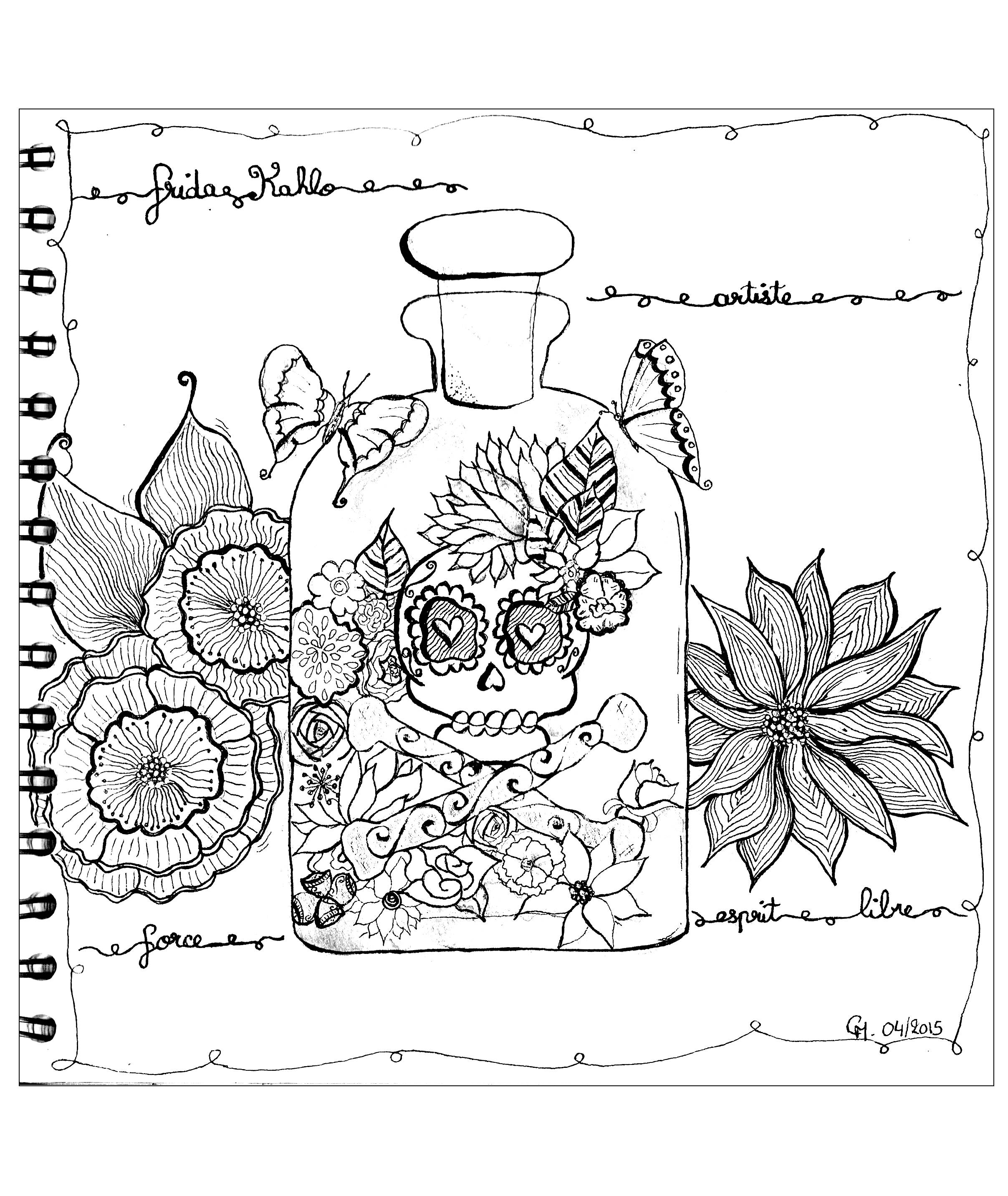 'Hommage to Frida Khalo', exclusive zentangle coloring page See the original work