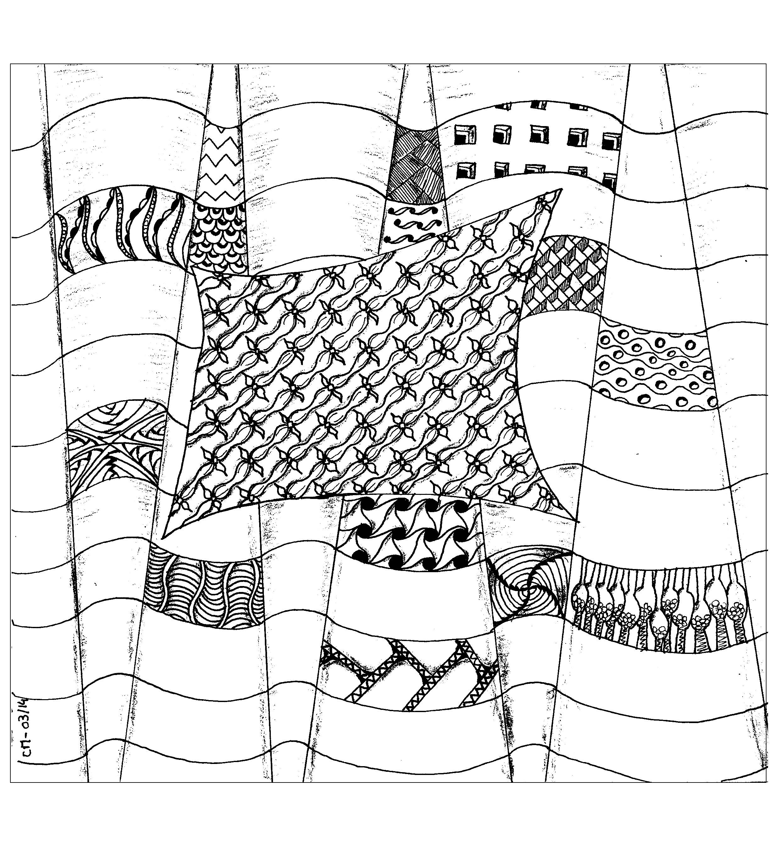 'Abstraction', exclusive zentangle coloring page See the original work