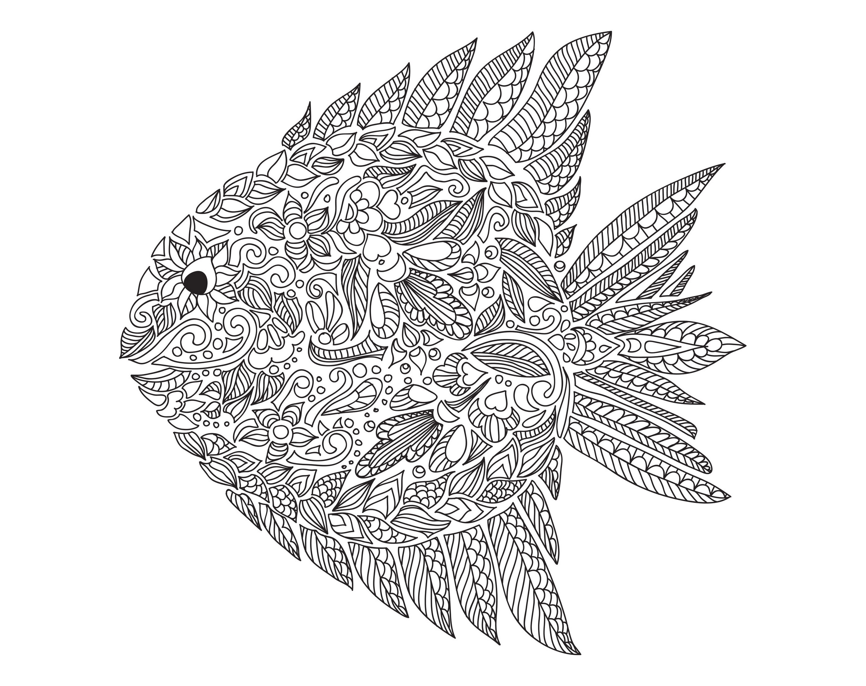 Zentangle fish zentangle adult coloring pages page 2 for Adult fish coloring pages
