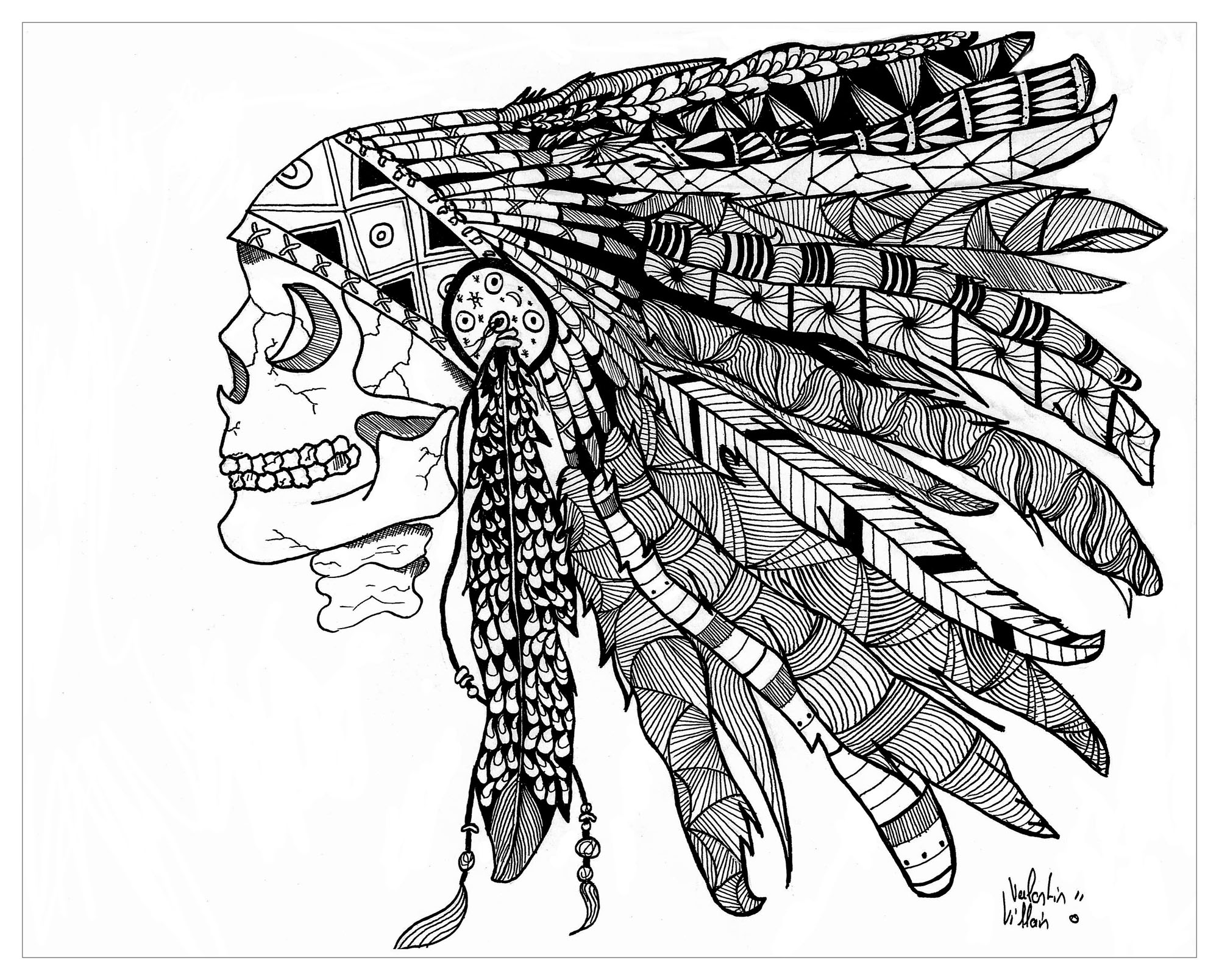 Zentangle drawing representing a Indian / Native American Skull