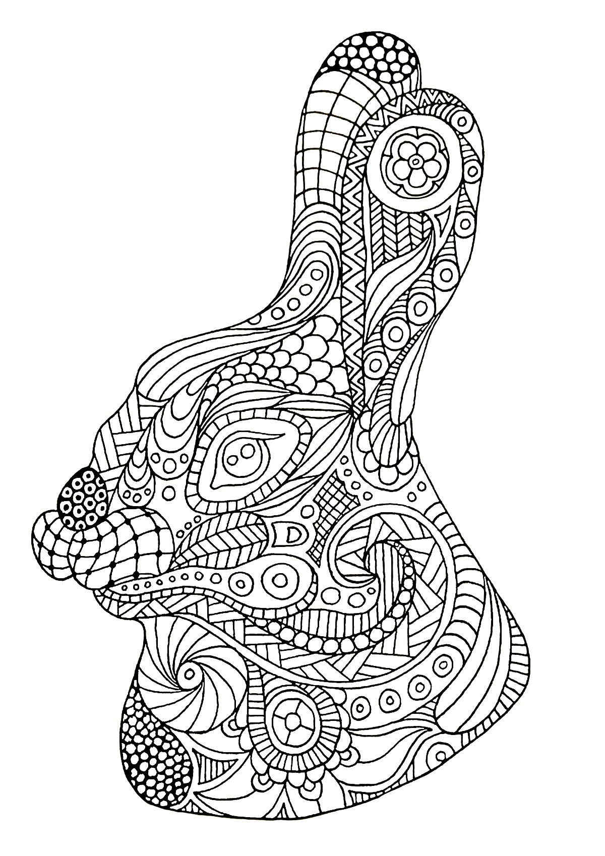 Rabbit head drawn with Zentangle style