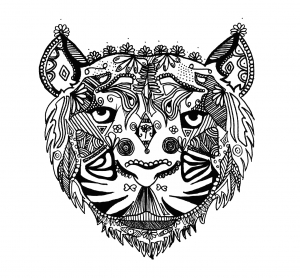 Tiger_Zentangle_Alice free to print