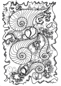 Coloriage adult poisson by zenfeerie