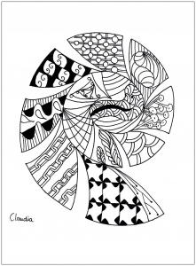 Coloring adult zentangle simple by claudia 1