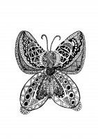 Coloring page adults butterfly zentangle rachel