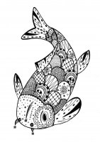 Coloring page adults fish zentangle rachel