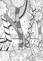 Coloring page adults forest zentangle rachel