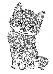 Mandala chat - Coloriages pour enfants
