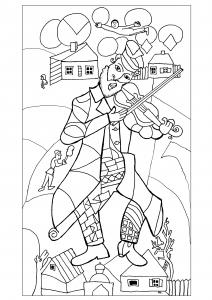 Coloriage Gratuit A Imprimer New York.Pour Chagall Le Violoniste Vert 1923 24 New York Reproduit Gratuit A