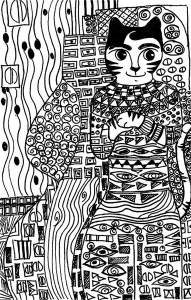 coloring-page-cat-free-to-color-for-kids : Klimt cat