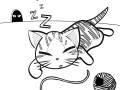coloring-page-cat-for-kids : Sleeping cat