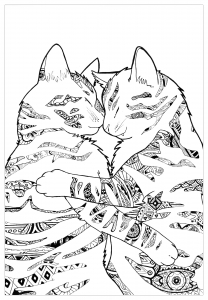 coloring-page-cats-to-print-for-free : Two cats playing
