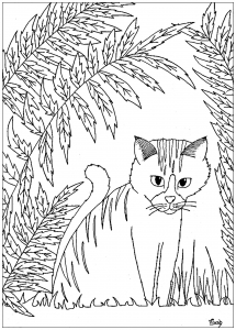 coloring-page-cat-to-download : cat and leaves