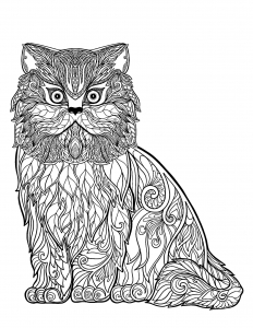 coloring-page-cat-free-to-color-for-kids : Wise cat full of details