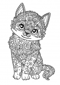 coloring-page-cat-for-kids : Little kitten