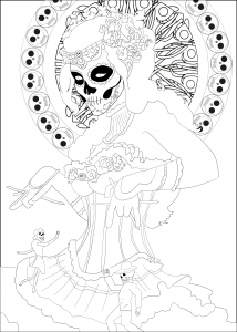 coloring-page-dia-de-los-muertos-(day-of-the-dead)-to-print-for-free