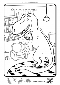 coloring-page-dinosaurs-to-print-for-free : Funny T-Rex
