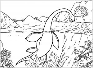 coloring-page-dinosaurs-to-download : Aquatic dinosaur