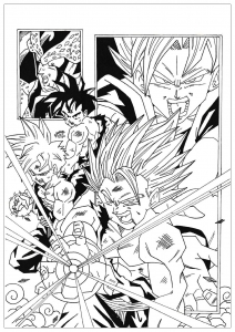 Cell against Songoku and Songohan