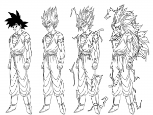 Transformation from Songoku to Son goku Super saiyajin 3
