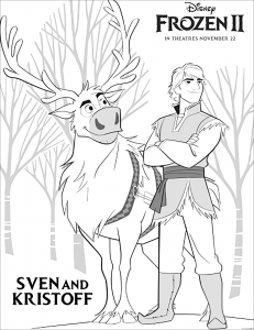 Frozen Sven Coloring Pages - GetColoringPages.com | 300x231