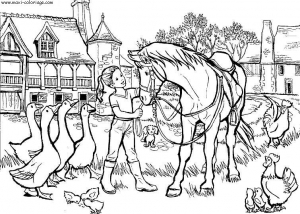 coloring-page-horse-for-children : Horse in a farm