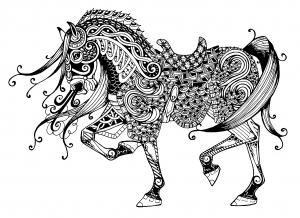 coloring-page-horse-free-to-color-for-kids : Trotting Horse with complex patterns
