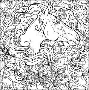 coloring-page-horse-free-to-color-for-kids : Horse head and mane