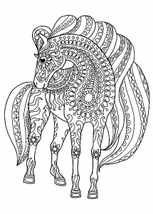 coloring-page-horse-with-patterns-free-to-color-for-children