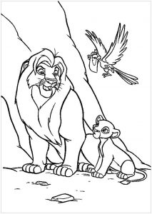 Lion King coloring page with Mufasa, Simba and Zazu