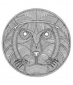 Mandala a colorier animaux gratuit lion