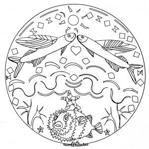 Mandala animaux poisson en mer 2