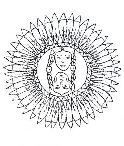 Mandala a colorier personnages indiens