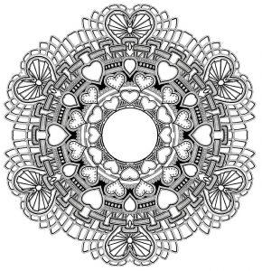 Mandala a colorier gratuit amour saint valentin