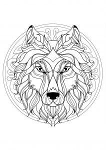 Mandala difficile tete loup 4