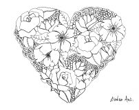 Mandala elanise fleurs dans un coeur