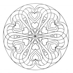 Mandala a colorier avec coeurs