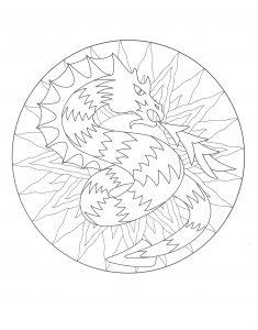 Dragon Mandala Coloring Page To Print Color 3