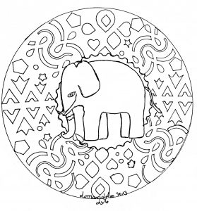 elephant 100 mandalas zen anti stress