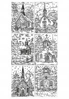 coloriage-adulte-architecture-eglises-enneigees