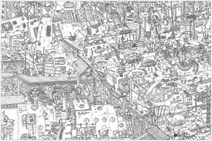 Coloriage Adulte Batiments.Doodle Batiments Ville Architecture Et Habitation Coloriages