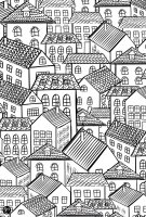 coloriage-architecture-village-toits