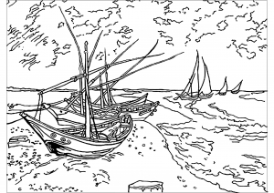 Vincent Van Gogh : Barques aux Saintes-Maries