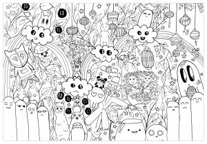 Donuts Et Licornes Doodles Coloriages Difficiles Pour Adultes