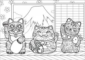 La Grande Vague Kanagawa Japon Coloriages Difficiles Pour Adultes