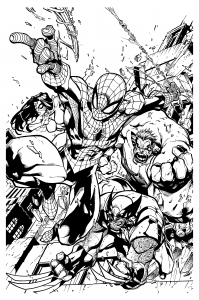 coloriage-adulte-comics-spiderman-wolverine-mattjamescomicarts